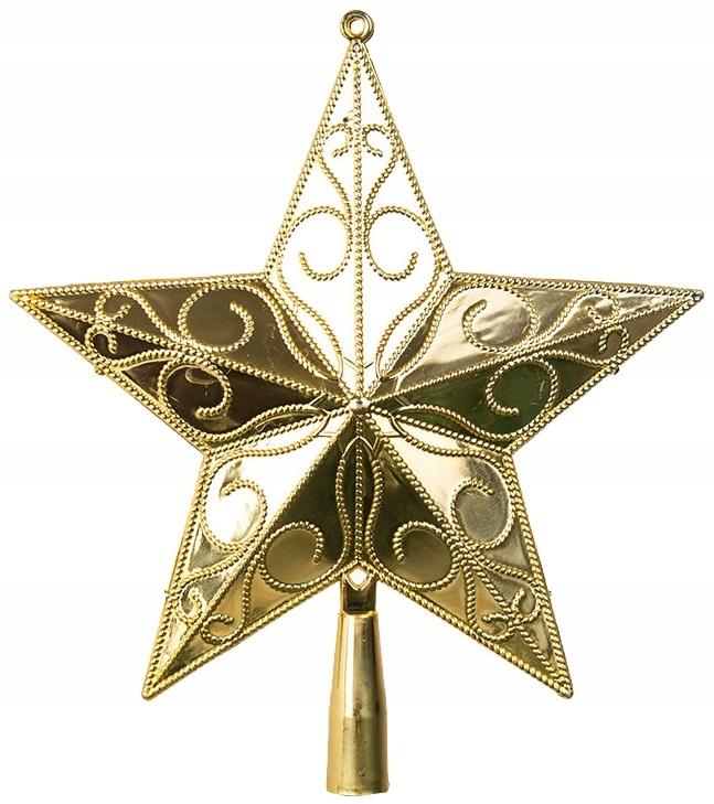 Czubek Na Choinke Gwiazda Zlota Azurowa Szpic 21cm 7698529262 Oficjalne Archiwum Allegro
