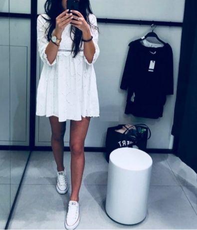 Zara sukienka kombinezon z ażurowym haftem HIT L