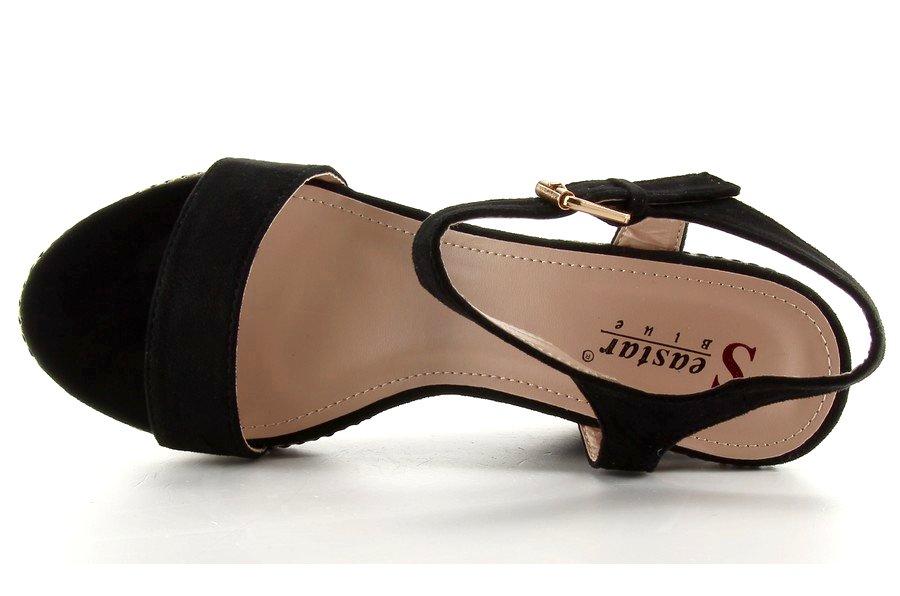 Piękne sandałki na koturnie LL 56 black r.40