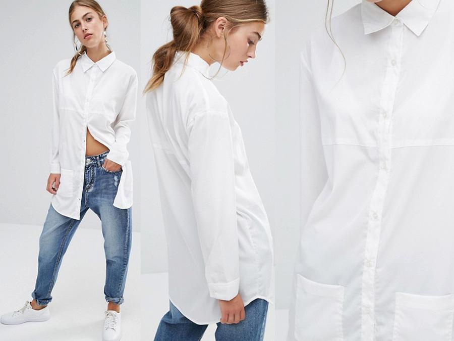 Biała koszula damska z kieszenią