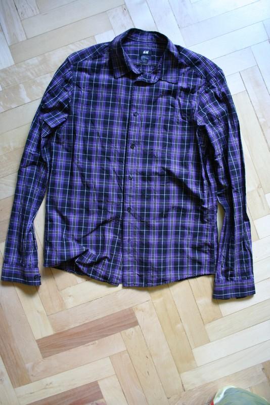 Fioletowa koszula męska w kratę H&M M 7142280740  IY4fc