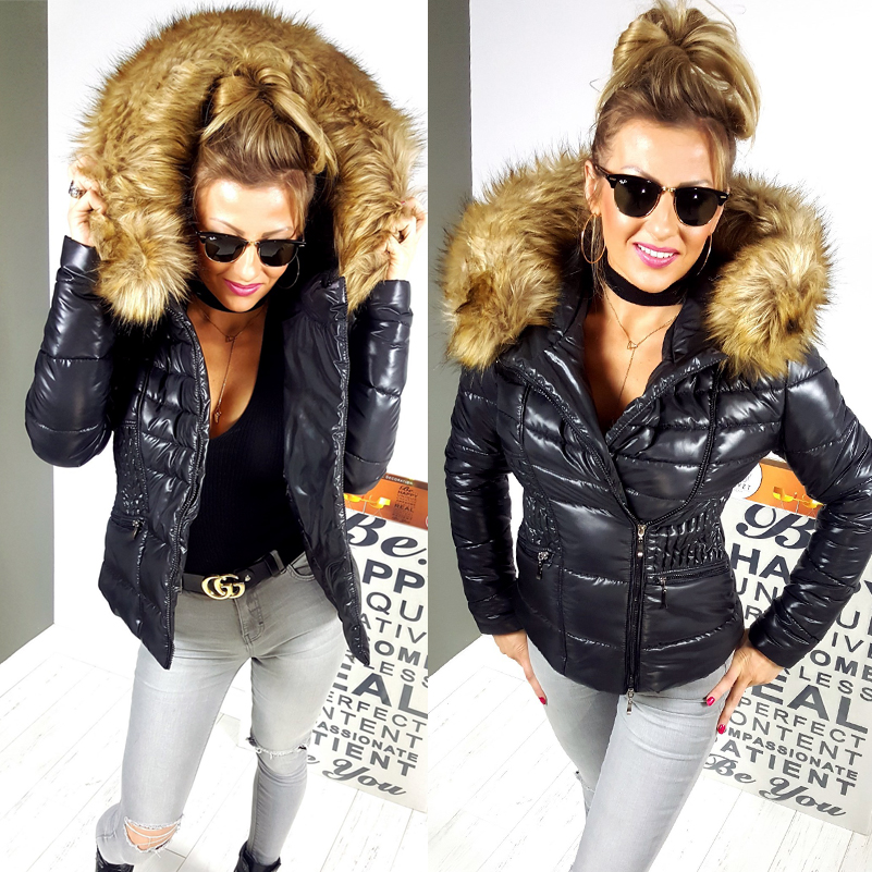 krótka czarna kurtka zimowa damska