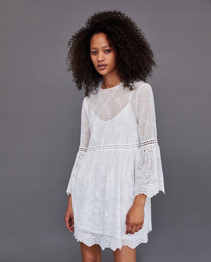 biala sukienka boho zara