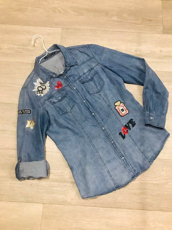 MOHITO jeansowa koszula z naszywkami, 34 7710682847