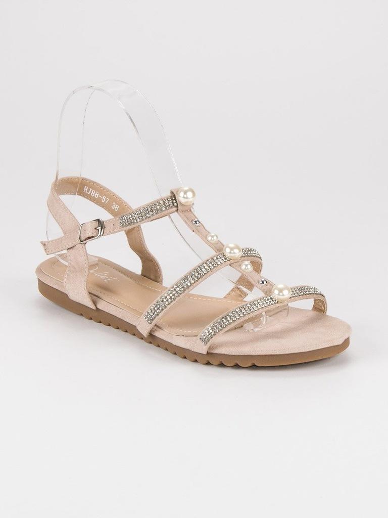 gladiatorki sandały z perłami-allegro