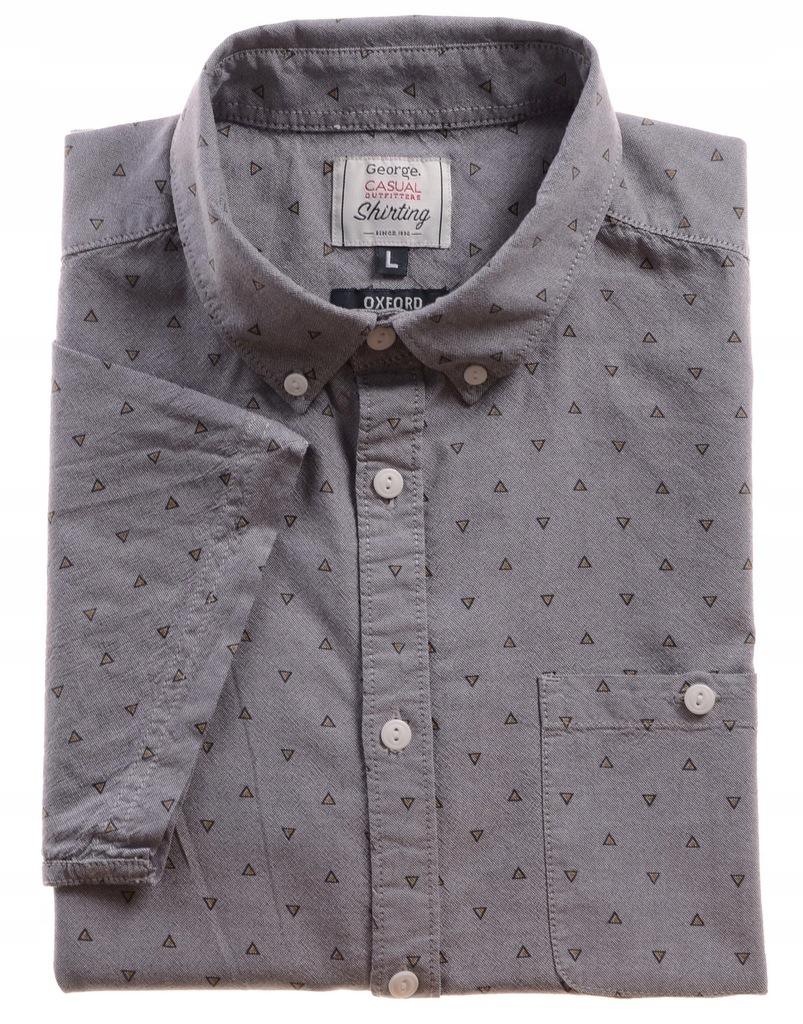 Koszula męska Oxford z krótkim rękawem szara