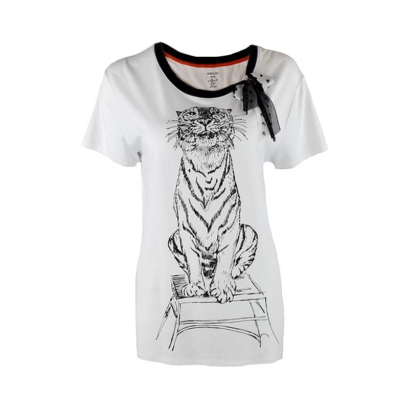 MARC CAIN t shirt print tygrys kokarda N3 M SALE %