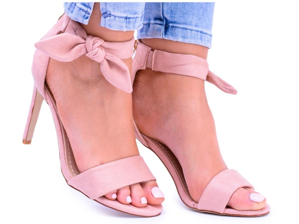 Damskie Eleganckie Sandały Szpilki Różowy Zamsz Almond