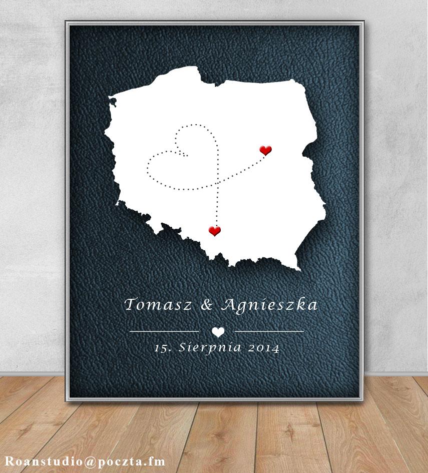 Plakat w ramce A4 oryginalny prezent ślub rocznica