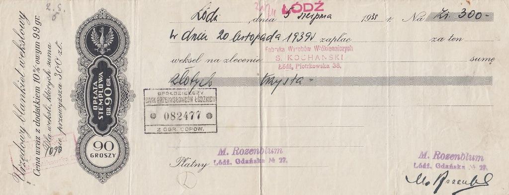 Łódź 1938 Rozanblum Fabr. Kochański Weksel judaika