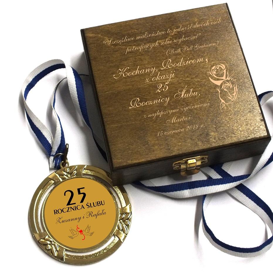 Medal 25 50 60 Rocznica Slubu Grawer Etui Gody 7272350766