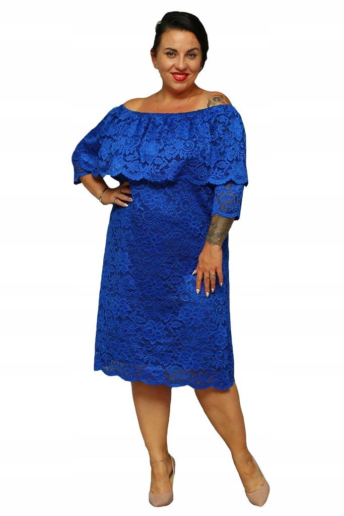 Sukienka DORITA hiszpanka koronkowa chabrowa 46