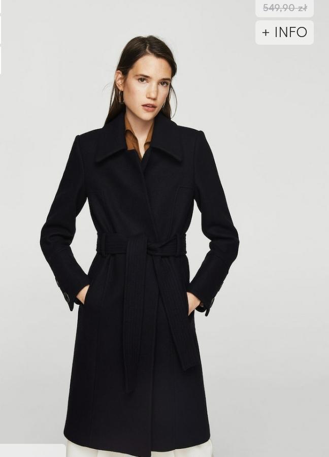 Wełniany płaszcz z paskiem MANGO r. M. OSTATNI