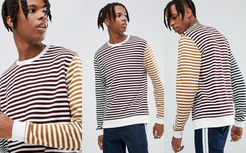 bluza w paski kolorowe męska