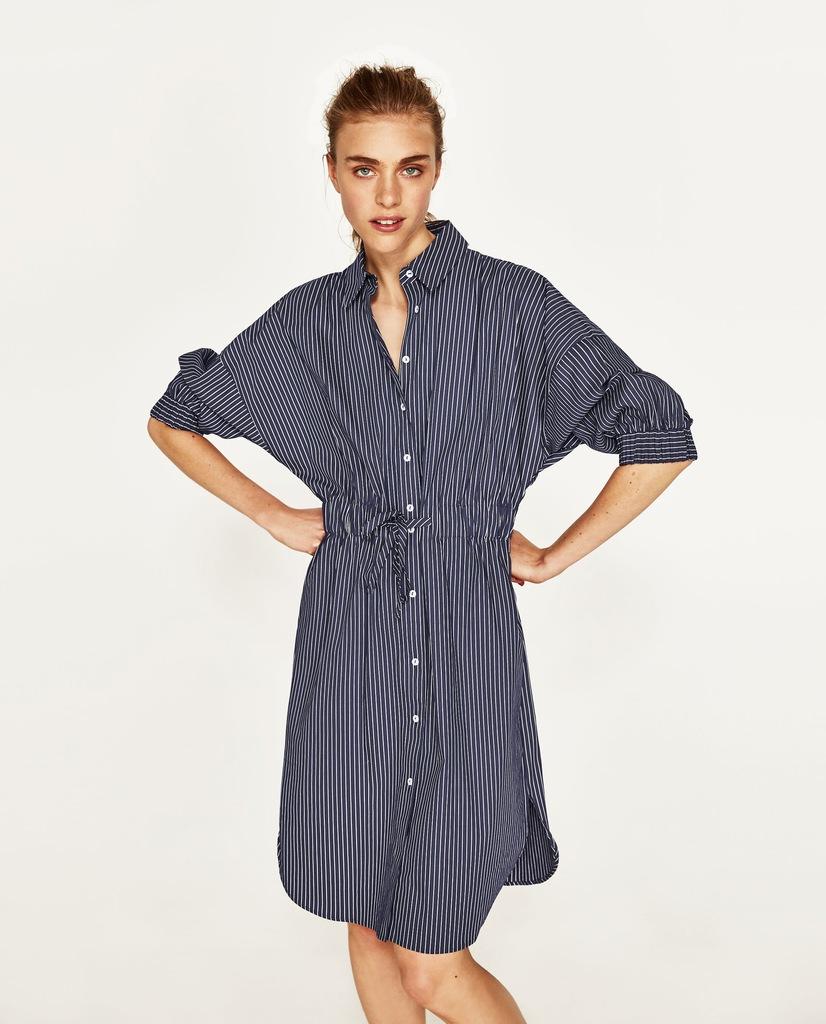 koszulowa sukienka w paski zara