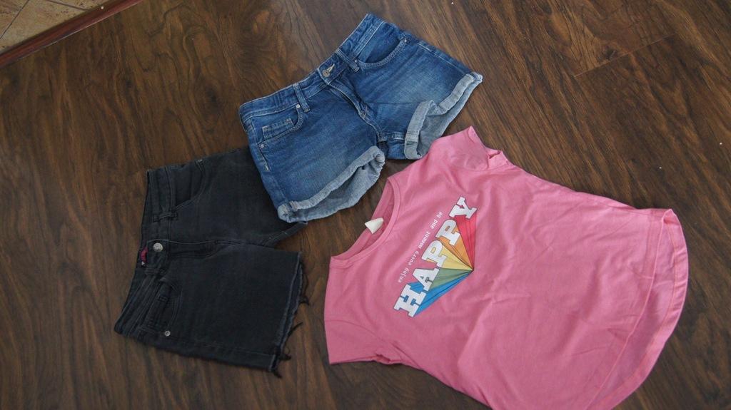 146 H&M szorty niebieskie + gratis Tshirt zara