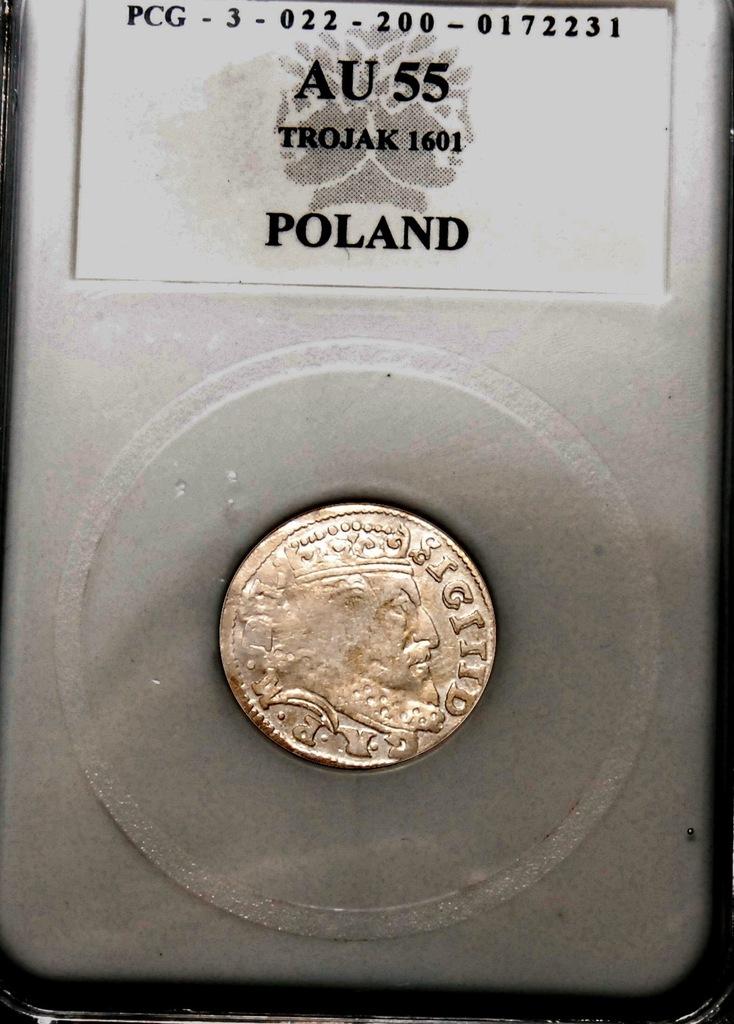 Trojak 1601, Zyg. III Waza, Wilno, Rzadki, Ładny