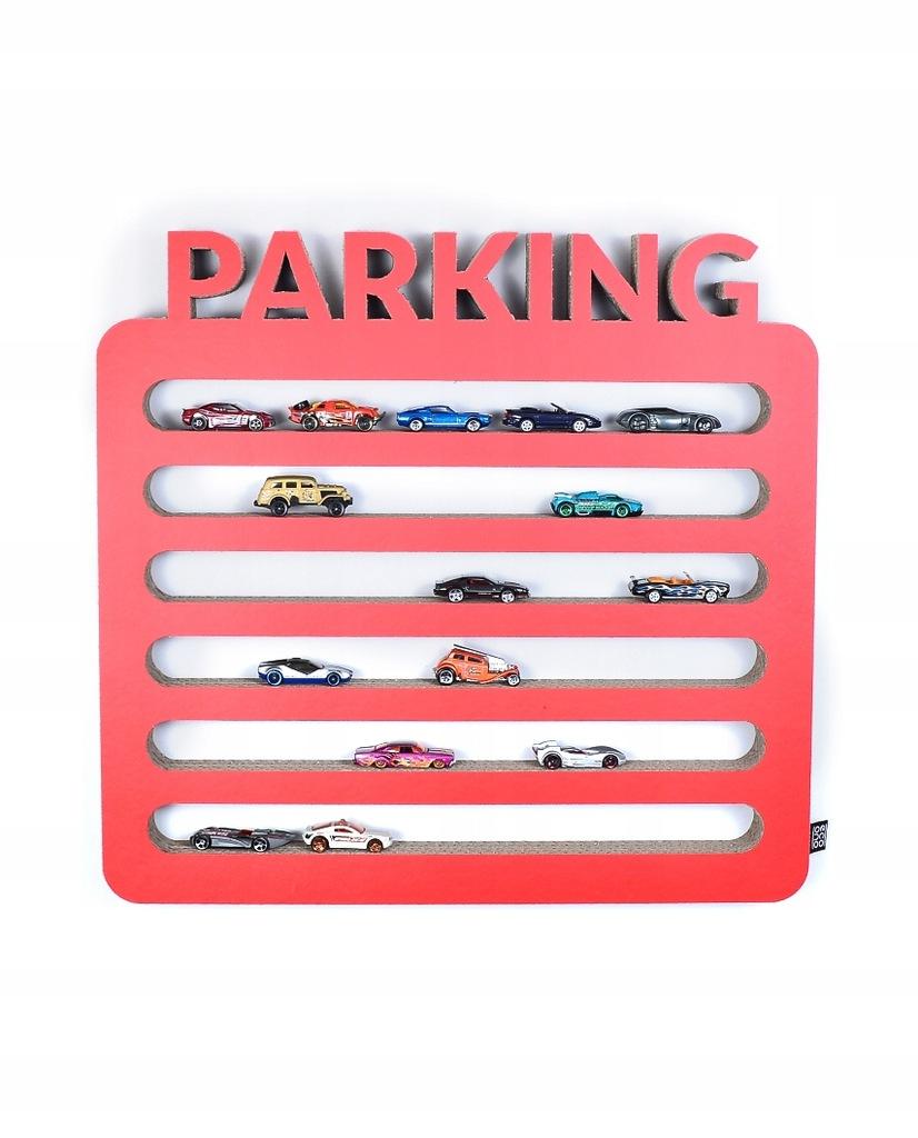 Półka na resoraki samochodziki PARKING | czerwony