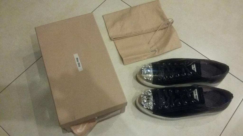 Miu miu buty sneakersy włoskie skóra kamienie r 39