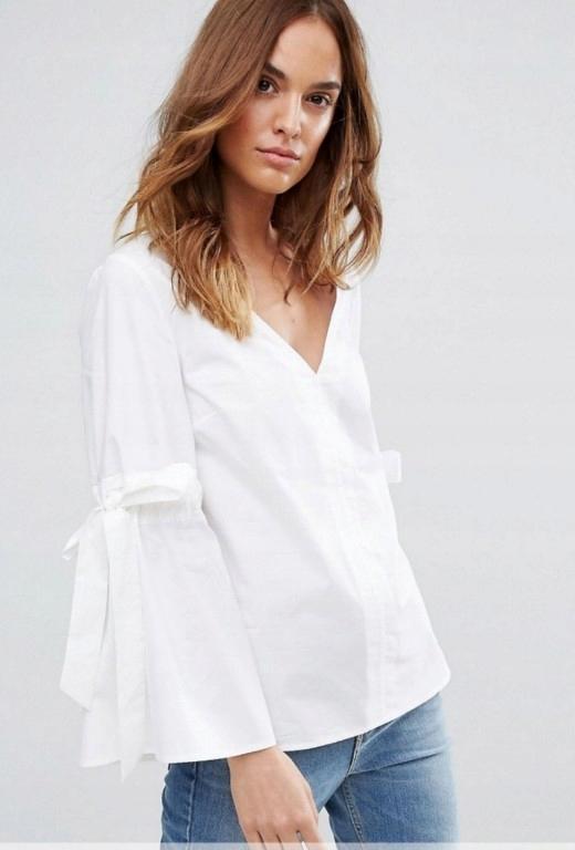 Luźna biała bluzka z rozkloszowanymi rękawami 34 | sklep