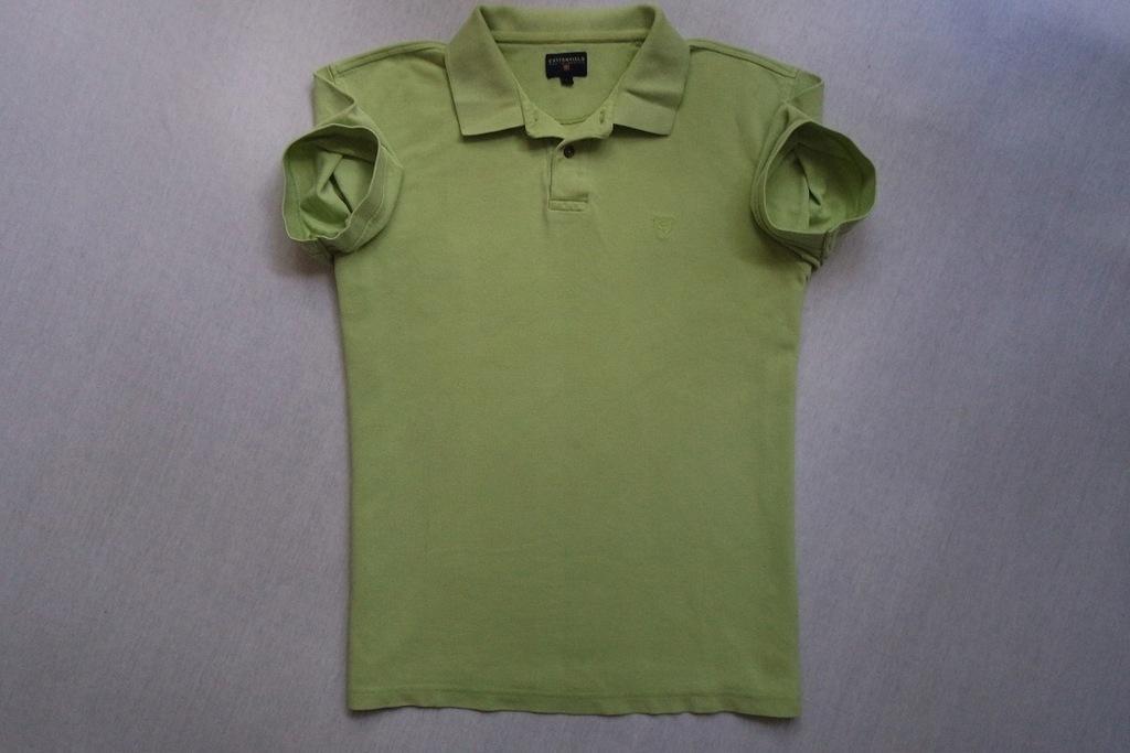 COTTONFIELD koszulka polo seledynowa logowana____M