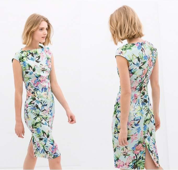 sukienka zara kwiaty ołówkowa