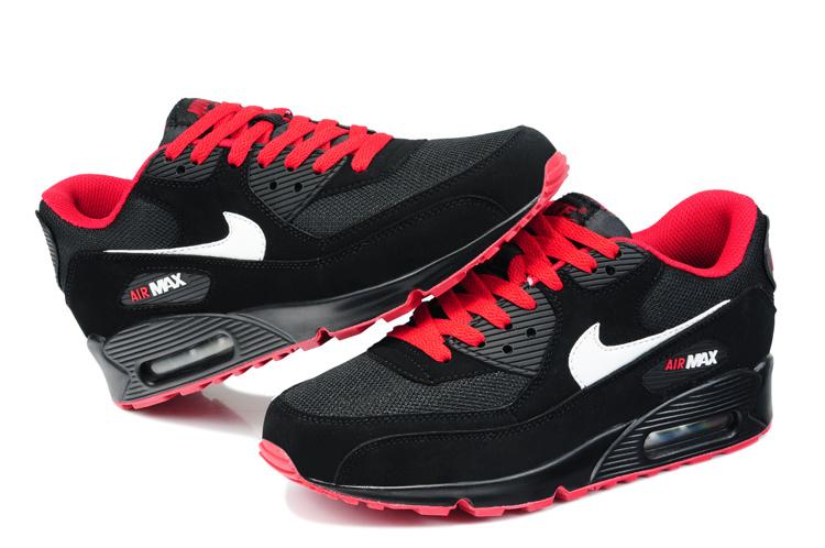 Buty Męskie Nike Air Max 90 Czarne Czerwone 325213 061, NIKE
