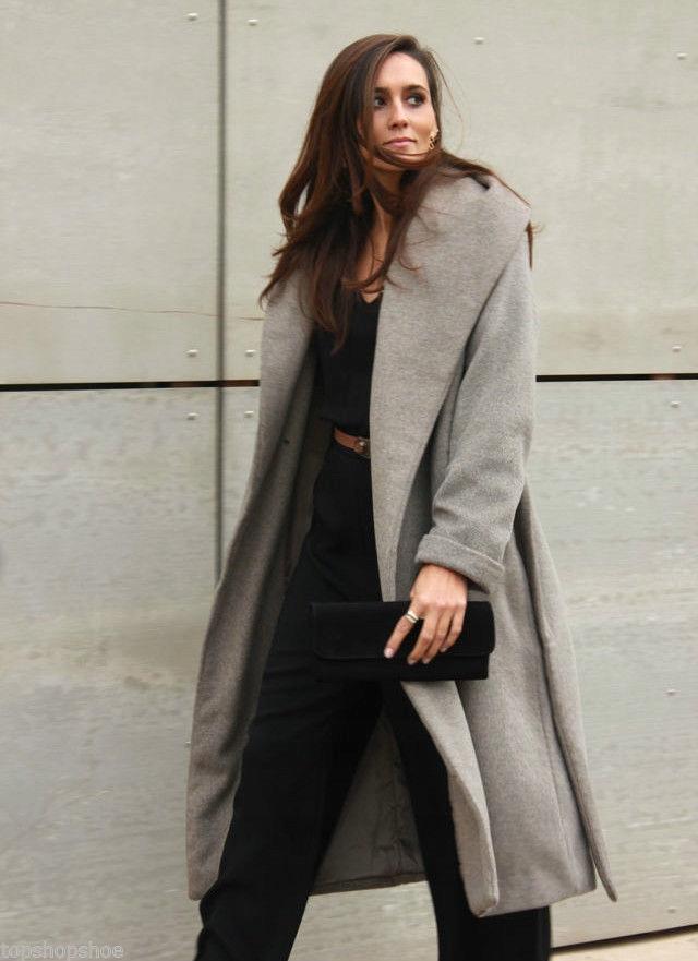 Wełniany szary płaszcz ZARA wiązany blog S