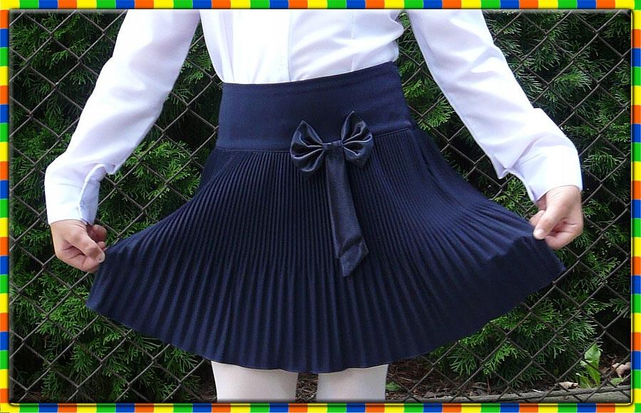 Granatowa spódnica plisowana szkolna super 146 a09