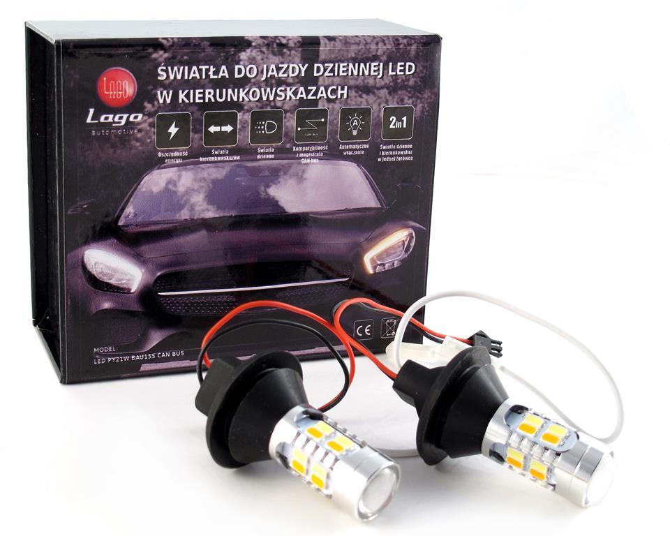 ŚWIATŁA DZIENNE 2W1 DRL LED + kierunkowskaz PY21W