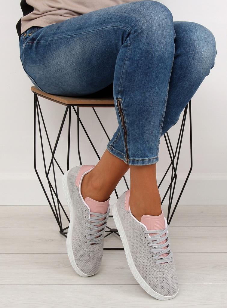 Trampki damskie szaro różowe cienkie stopę 40