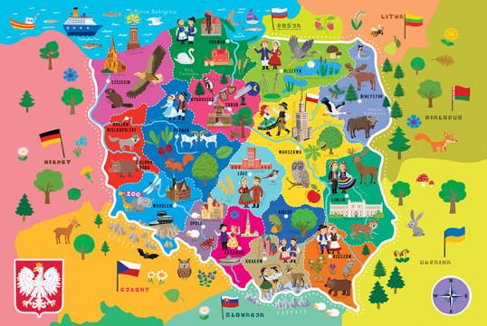Mapa Polski dla dzieci. Puzzle edukacyjne, 44 e...