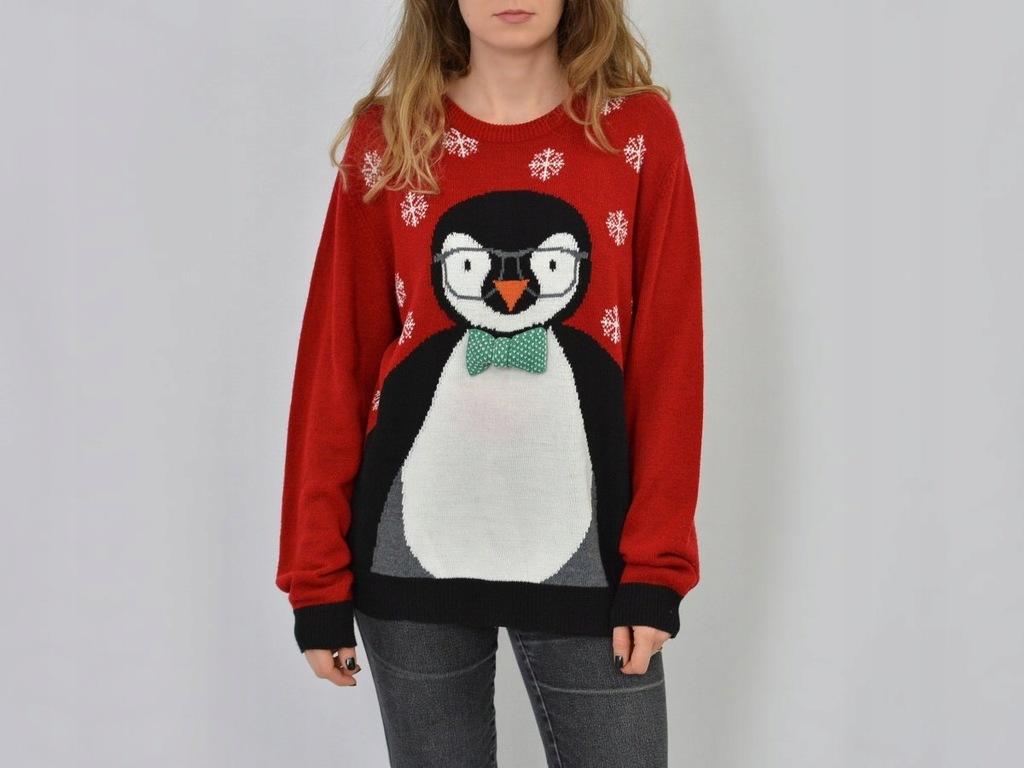 Marks&Spencer świąteczny sweter z pingwinem L