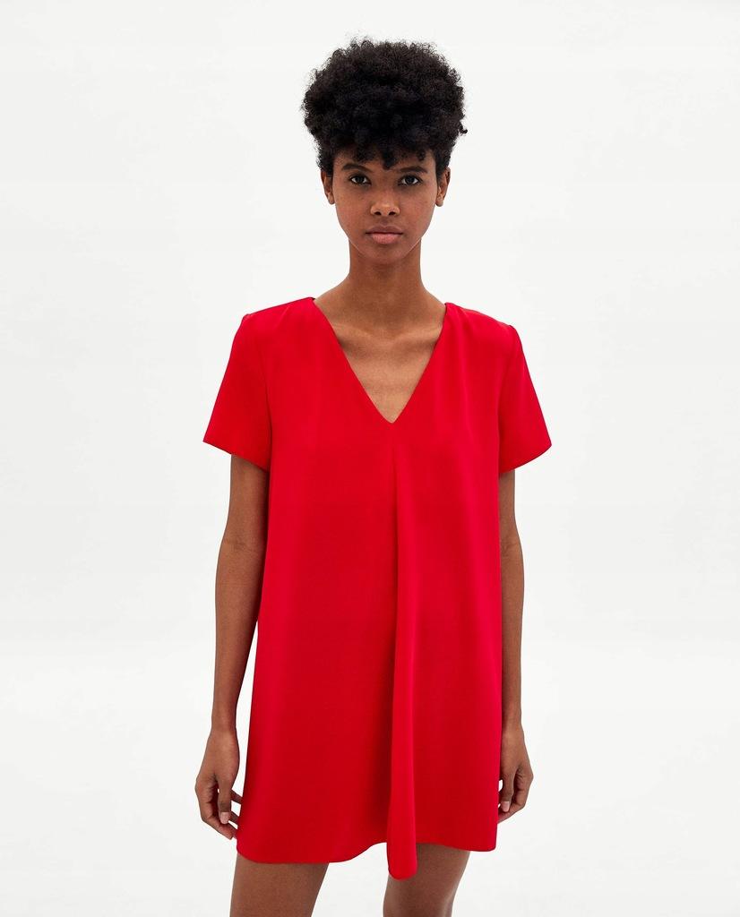 Zara Czerwona Sukienka z dekoltem w serek 36S