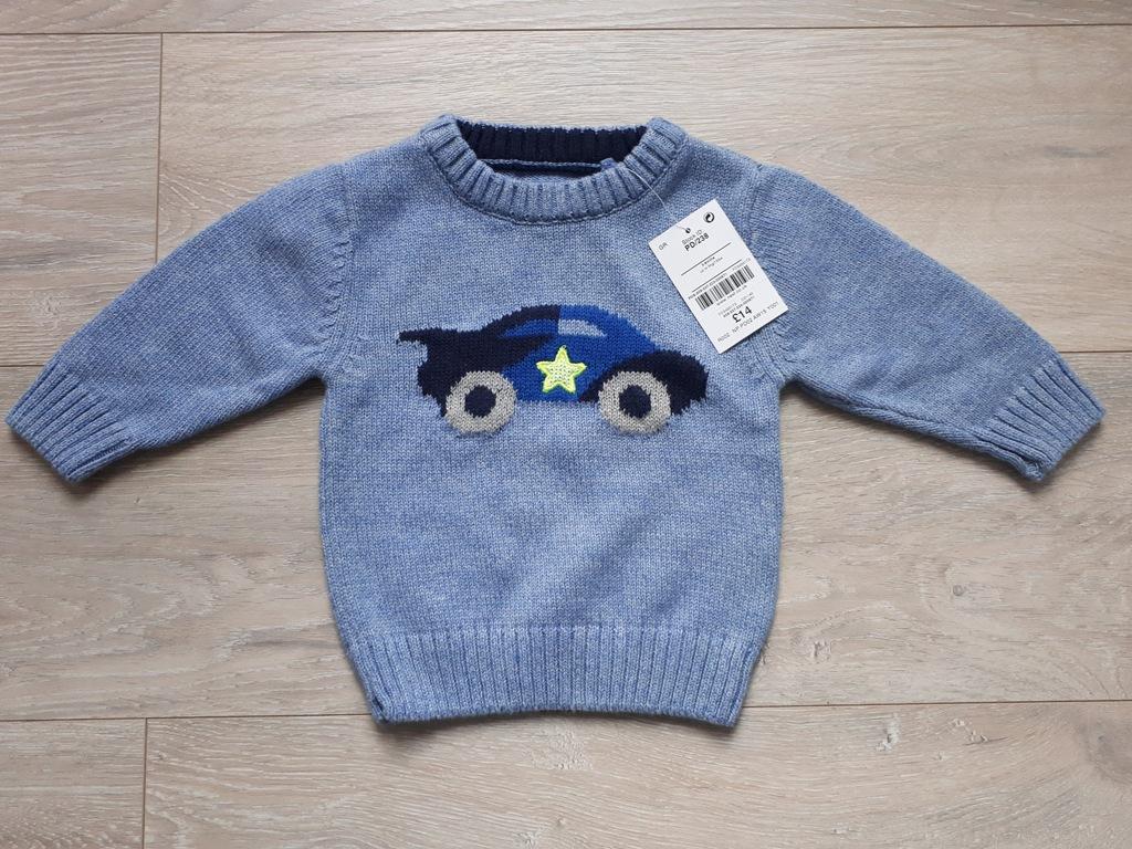 Next Super sweterek autko Neon fluo 68 NOWY