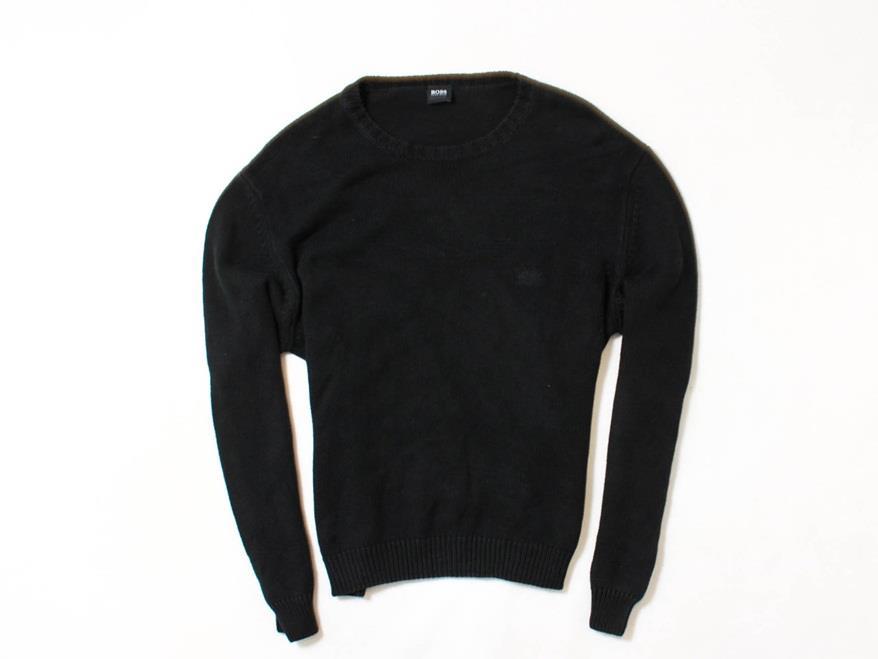 *A Hugo Boss Sweter Męski Bawełna Czarny roz XL