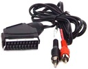 Kabel wtyk EURO SCART / 2x RCA cinch audio 1m(0472