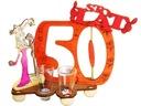 STOJAK z KIELISZKAMI 50 urodziny PREZENT 50-tka !
