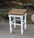 Taboret drewniany dębowy, taborecik prowansalski Kolor mebla Biały