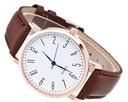 Damski zegarek złoty Geneva skórzany brązowy pasek