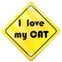 ODBLASK NA AUTO SAMOCHÓD I LOVE MY CAT PRZYSSAWKI