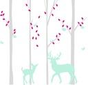 Naklejka na ścianę brzoza drzewa zwierzęta liście