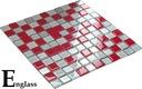 Mozaika szklana czerwono-srebrna MIX RUBIN Englass