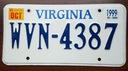 Virginia 1999 - tablica rejestracyjna USA