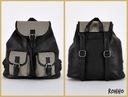 ROHHO czarny plecak ze wstawkami w pepitkę retro