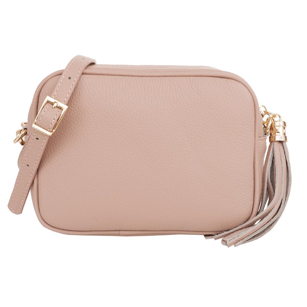 8559a8e557c32 Vera Pelle - Włoska pudrowy róż   różowa modna pojemna skórzana listonoszka  torebka