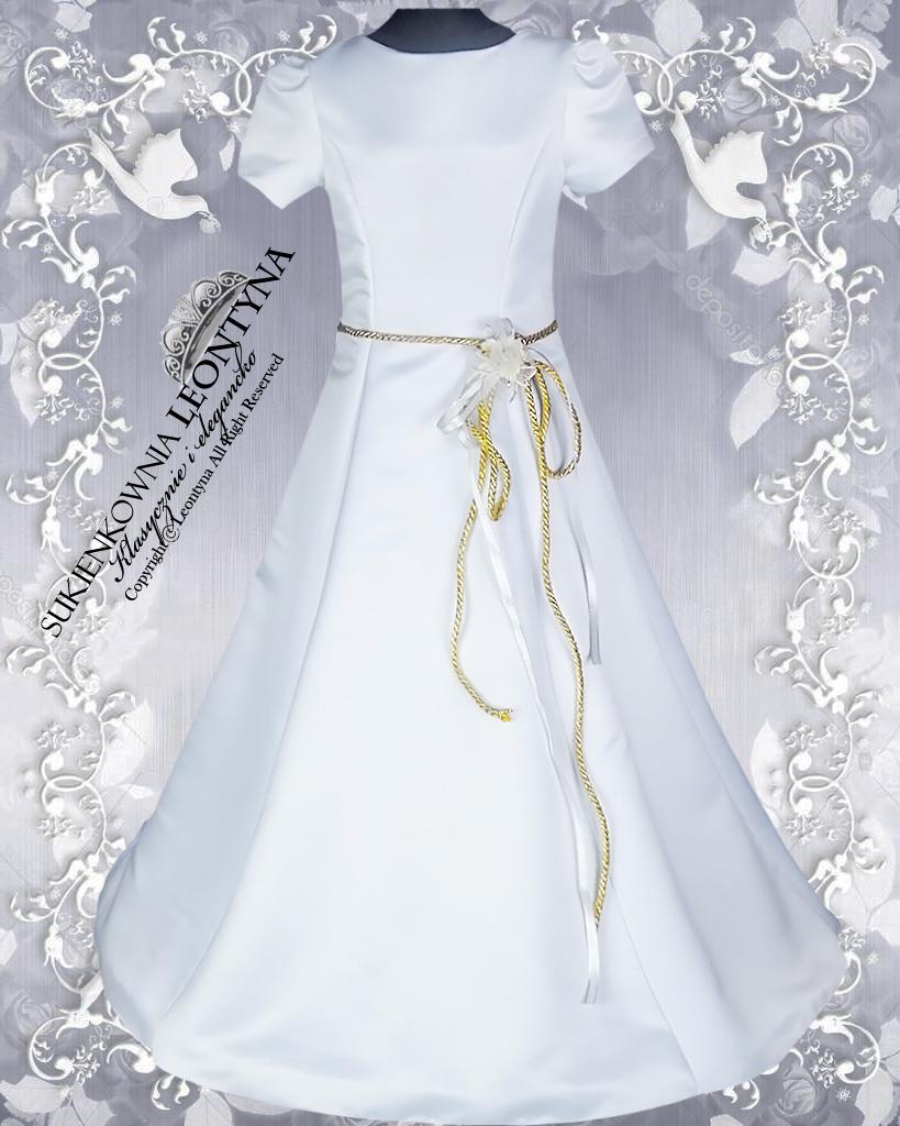 c69089e9de Alba komunijna Sukienka z szarfą taliowana 134 a 7659827040 - Allegro.pl