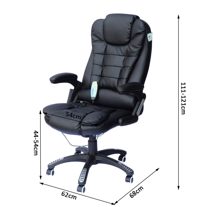 Fotel Masujący Biurowy Masaż Grzanie Homcom Czarny