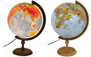 Globus 320mm PODŚWIETLANY 2w1 DREWNO i NA PREZENT