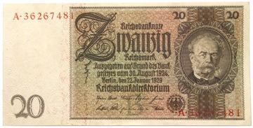 Германия - III Рейх - БАНКНОТЫ - 20 Марок 1929 доставка товаров из Польши и Allegro на русском